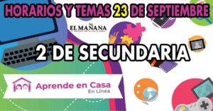 Aprende En Casa: horario y temas para 2° de secundaria 23 de septiembre