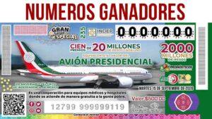 GANADORES DEL SORTEO de la lotería nacional 15 DE SEPTIEMBRE