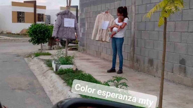 Mujer en Monterrey cambia ropa por leche para su bebé