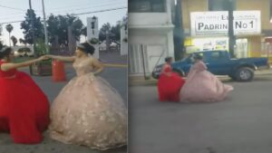 Quinceañeras bailan vals frente a El Padrino de Nuevo Laredo