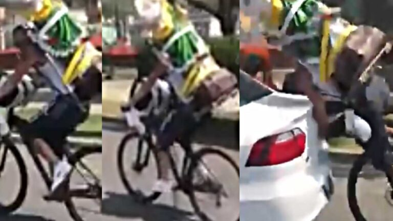 El ciclista que chocó con su San judas gigante