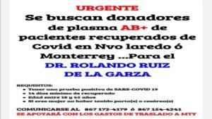 Solicitan donadores de plasma AB+ para el pediatra Rolando Ruiz