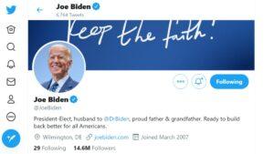 Biden actualiza su perfil de Twitter y pone que ya es Presidente Electo