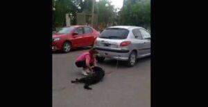 VIDEO: Mujer arrastra a su perro encadenado al auto