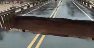 VIDEO: Puente colapsa durante transmisión en vivo y reportera vive para contarlo