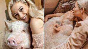 Influencer es criticada por tener de mascota a un cerdo de 80 kilos FOTOS