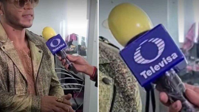Reportero usa un condón de manera ingeniosa