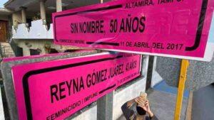 Cambian nombres de calles por los de Mujeres asesinadas en Tamaulipas