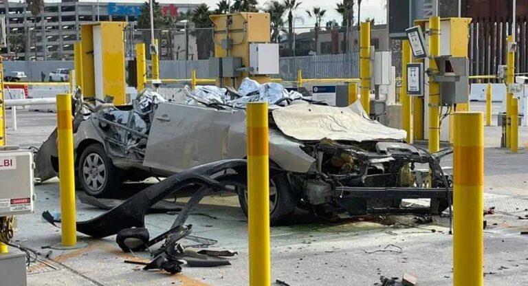El auto del homicida quedó totalmente destrozado
