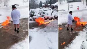 VIDEO: Hombre quita la nieve en la entrada de su casa con lanzallamas
