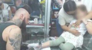 VIDEO: Niña es llevada a tatuarse por sus padres