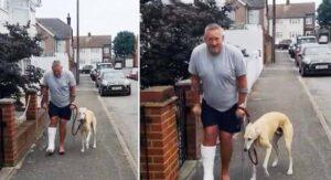 Hombre en muletas gasta dineral en Rayos X para su perro 'cojo' y descubre que él lo imitaba VIDEO