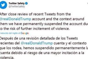 Twitter suspende cuenta de Trump permanentemente