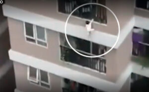 VIDEO: Niña de 3 años cae desde el piso 12 y es atrapada por repartidor