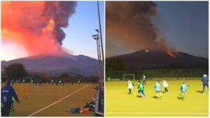 VIDEO: Volcán Etna hace erupción mientras niños juegan rugby